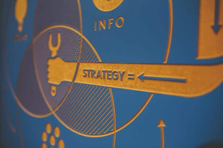 blue graphic with a venn diagram about marketing strategy