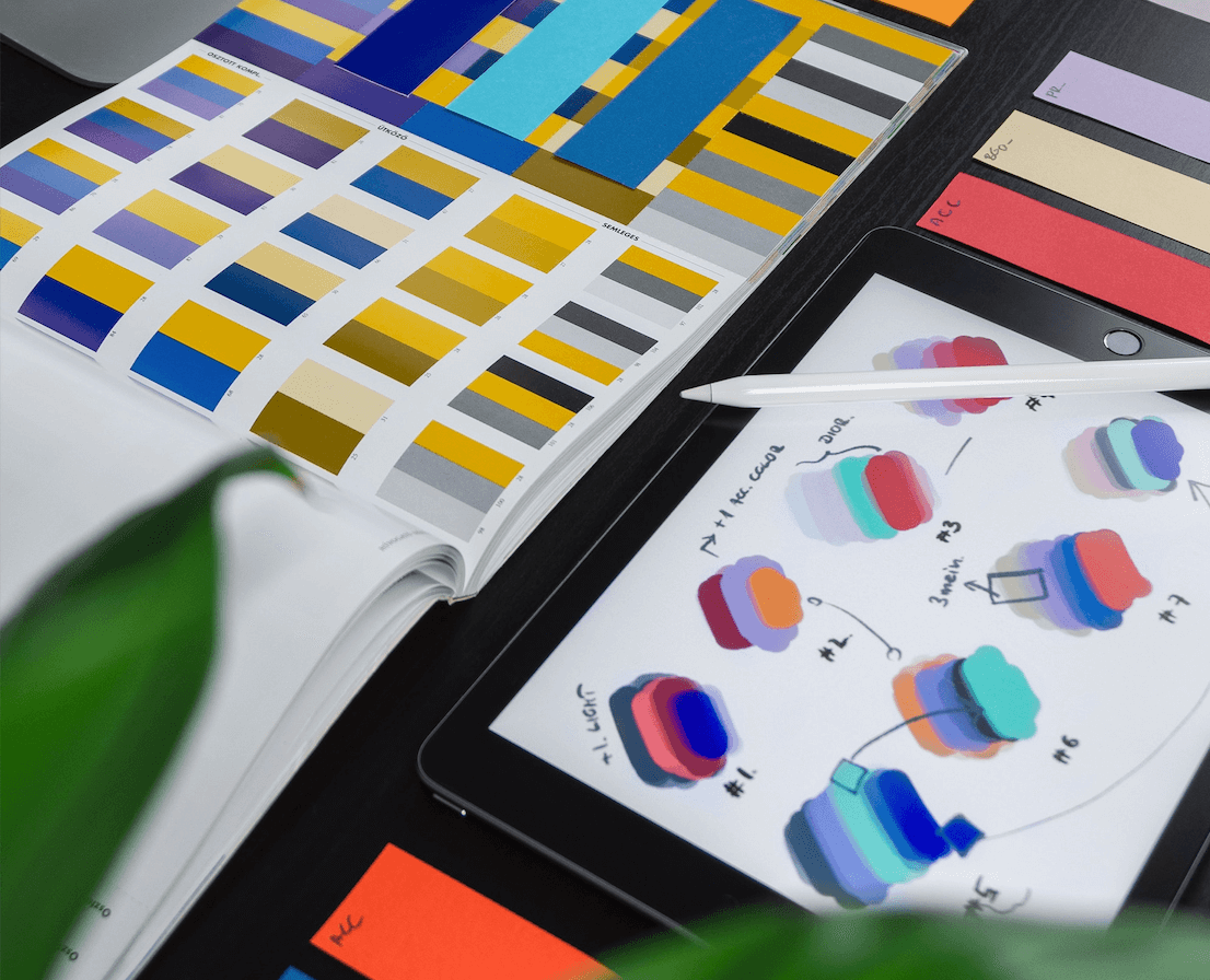 iPad and books with color swatches