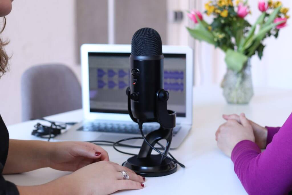 Podcast speaker during an interview session