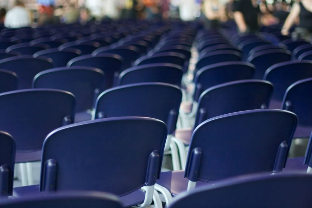 empty seats in a large room